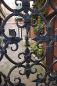 Custom wood gate with iron medalion.